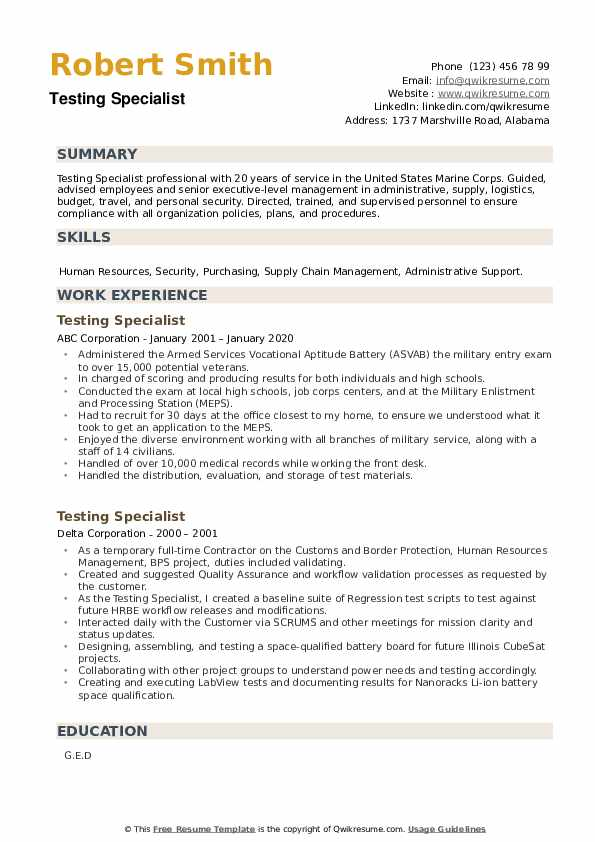 Testing Specialist Resume example