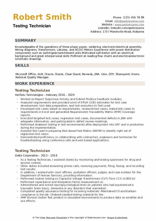 Testing Technician Resume example