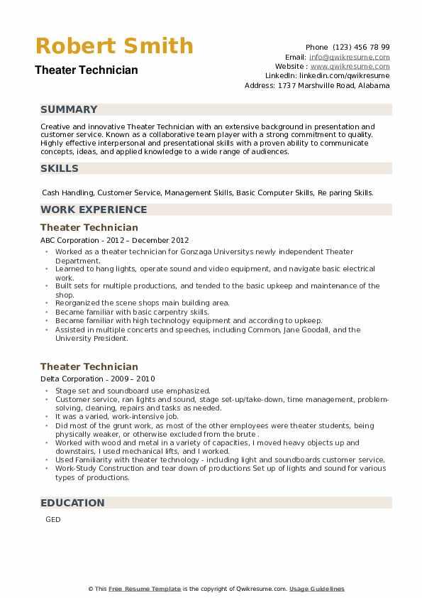 Theater Technician Resume example