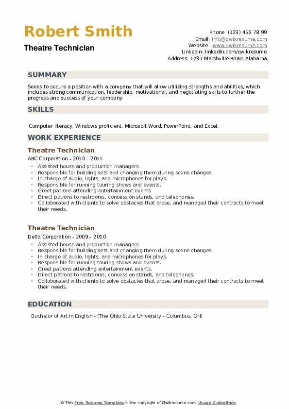 Theatre Technician Resume example