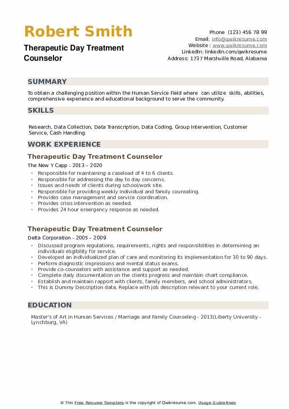 Therapeutic Day Treatment Counselor Resume example