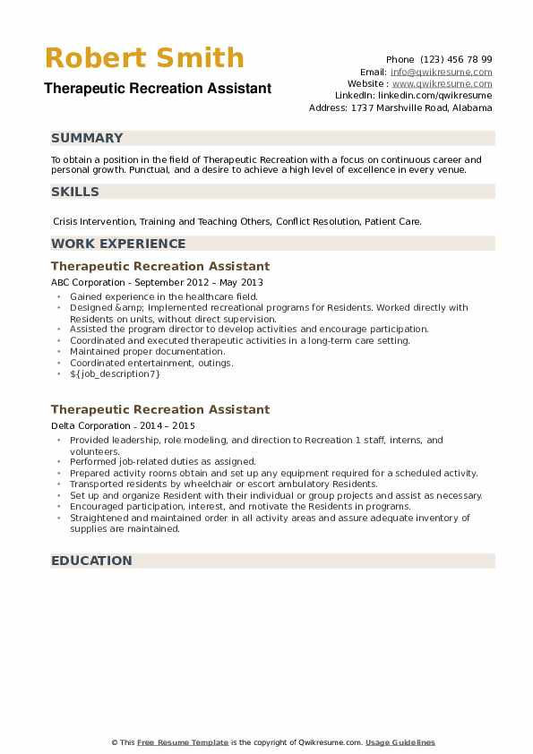 Therapeutic Recreation Assistant Resume example