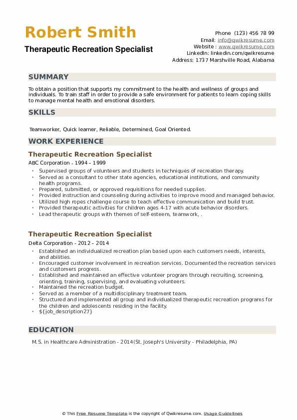 Therapeutic Recreation Specialist Resume example
