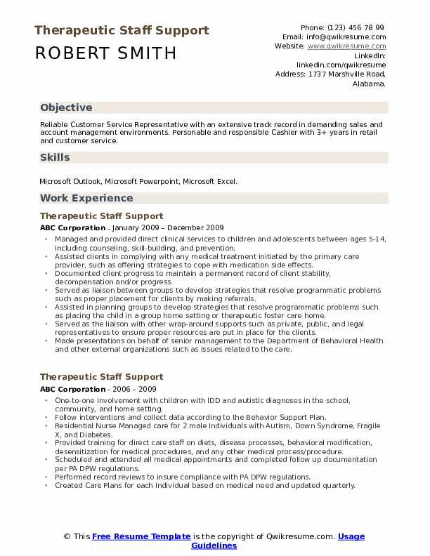 Therapeutic Staff Support Resume Model