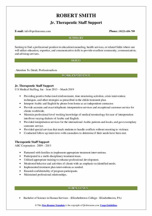 Jr. Therapeutic Staff Support Resume Example