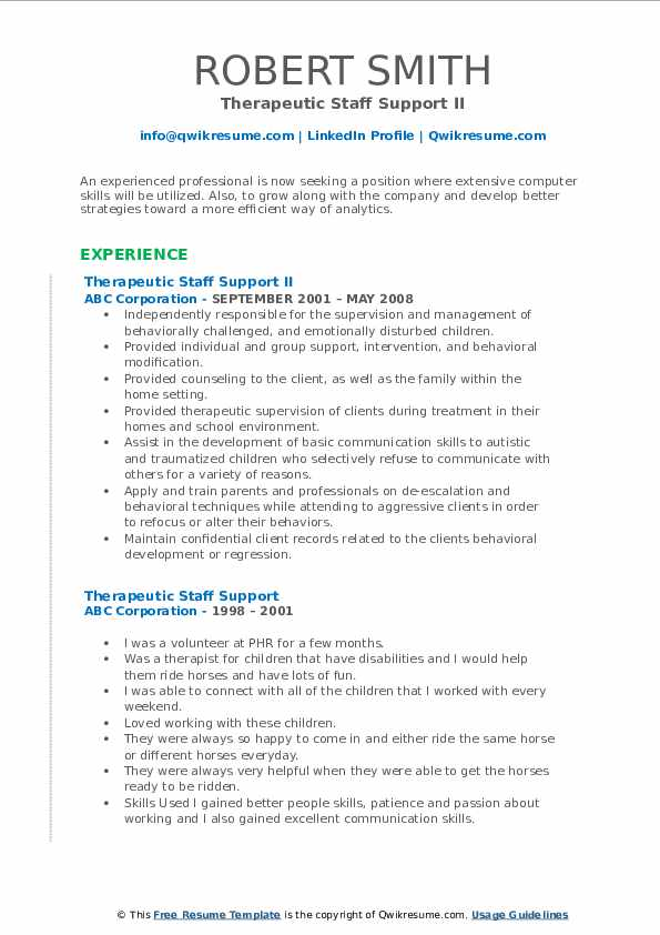 Therapeutic Staff Support II Resume Format