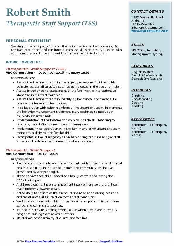 Therapeutic Staff Support (TSS) Resume Example