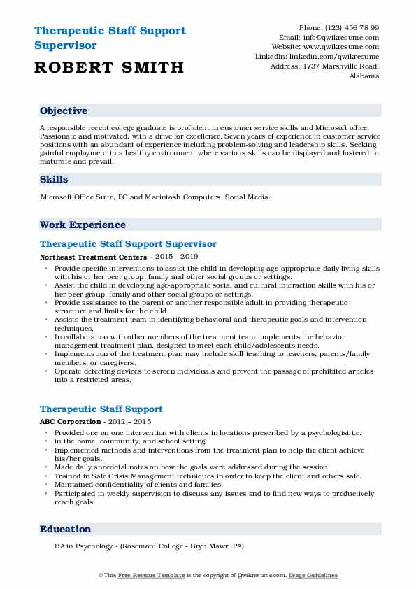 Therapeutic Staff Support Supervisor Resume Model