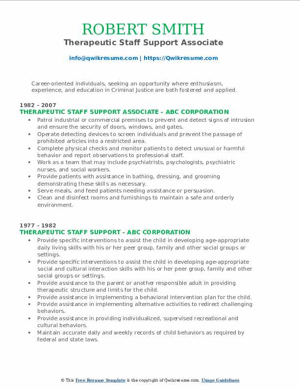 Therapeutic Staff Support Associate Resume Sample