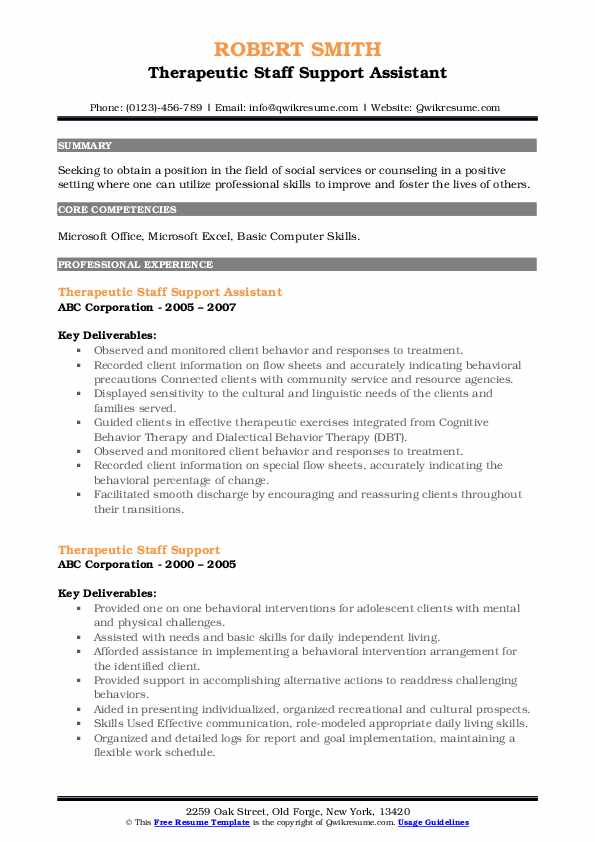 Therapeutic Staff Support Assistant Resume Model