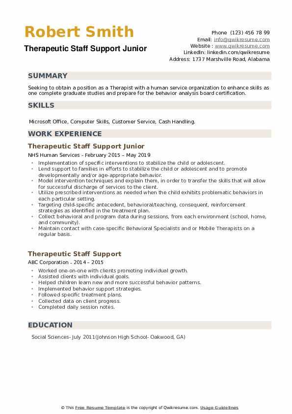 Therapeutic Staff Support Junior Resume Example