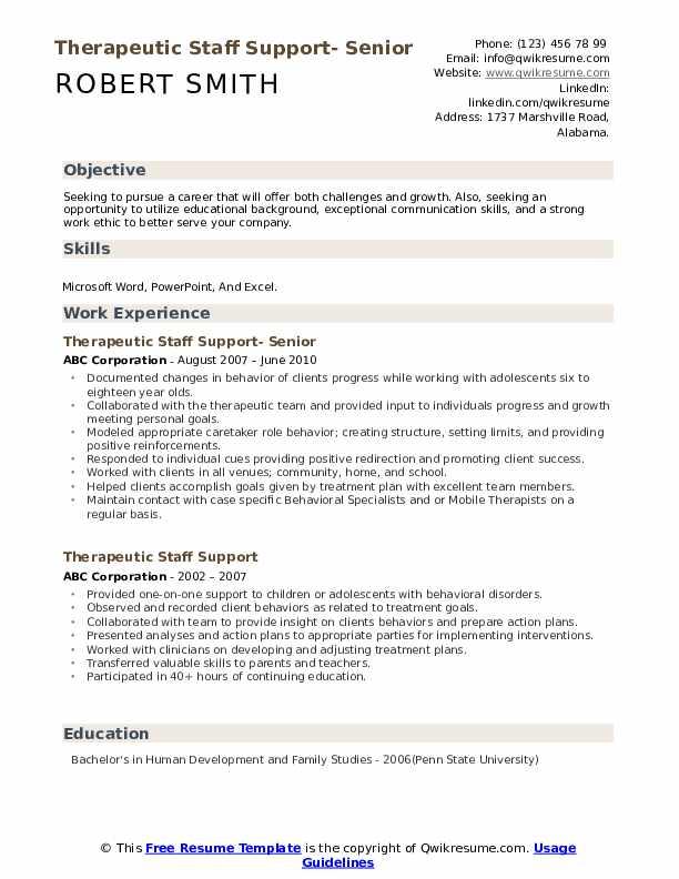 Therapeutic Staff Support- Senior Resume Model