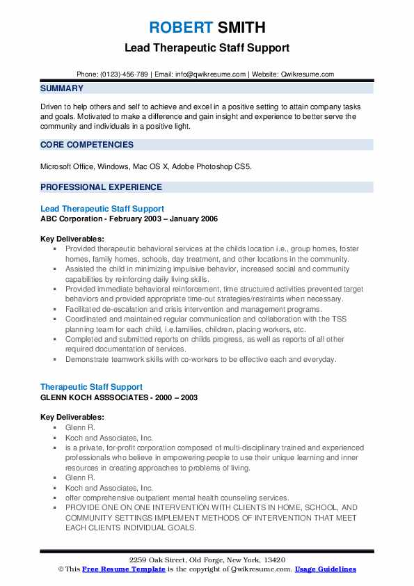 Lead Therapeutic Staff Support Resume Template
