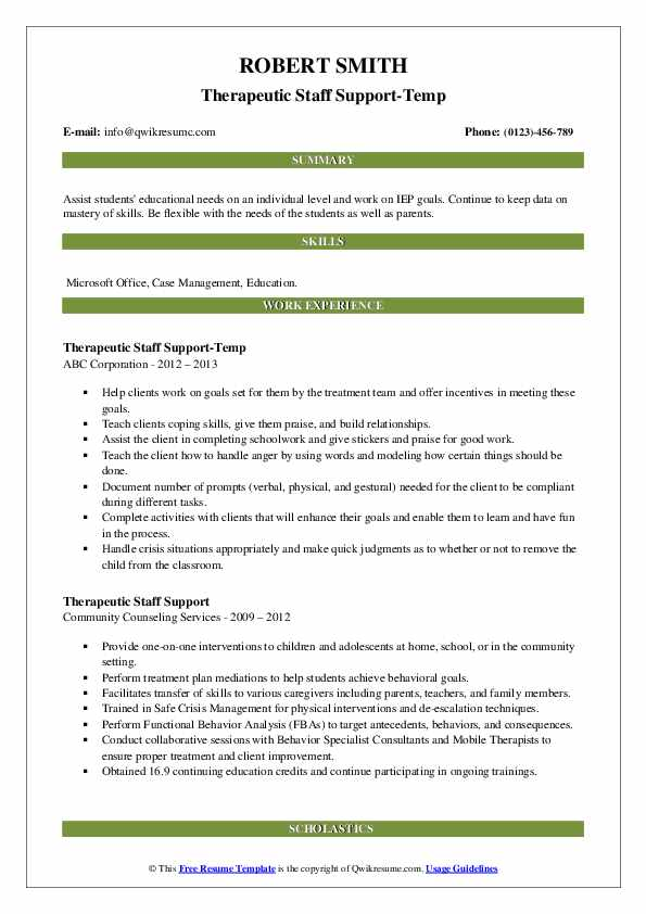 Therapeutic Staff Support-Temp Resume Example