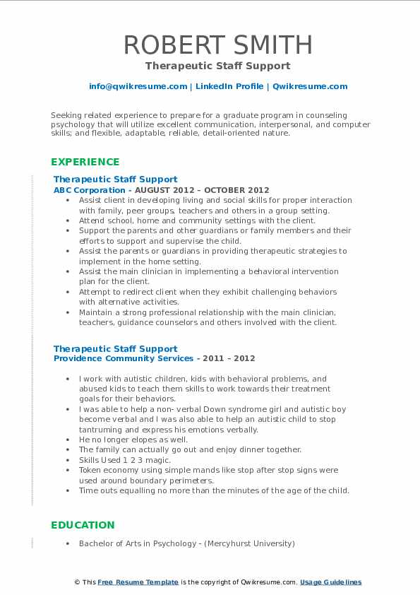 Therapeutic Staff Support Resume example