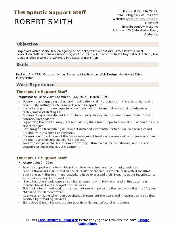 Therapeutic Support Staff Resume Model