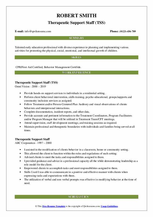 Therapeutic Support Staff (TSS) Resume Sample