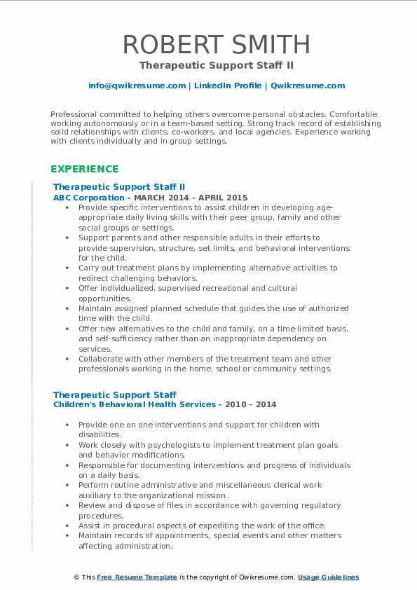 Therapeutic Support Staff II Resume Example