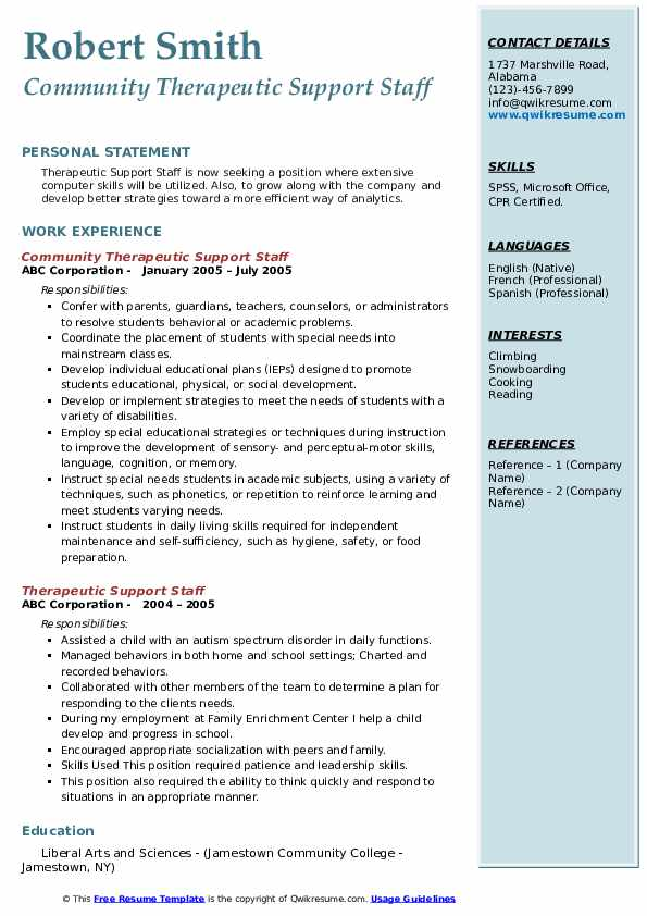 Community Therapeutic Support Staff Resume Example