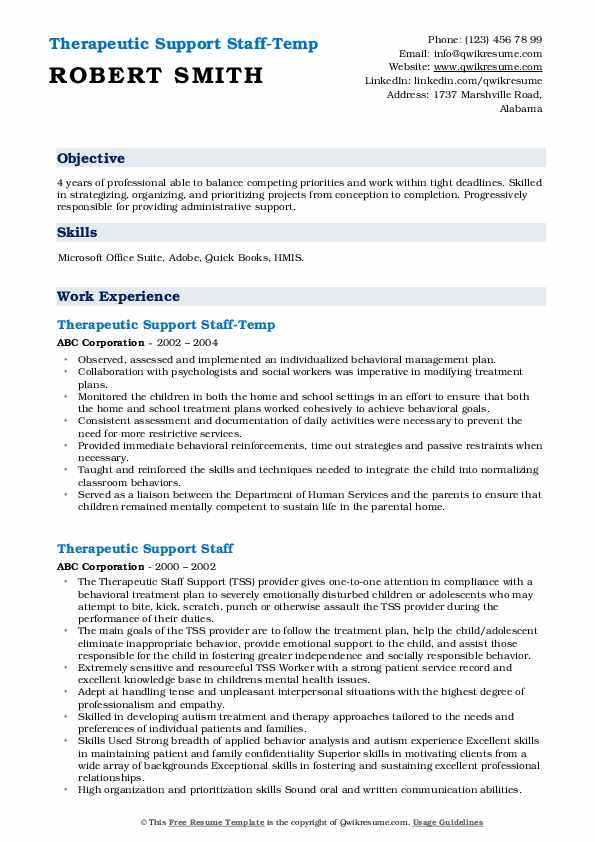 Therapeutic Support Staff-Temp Resume Format
