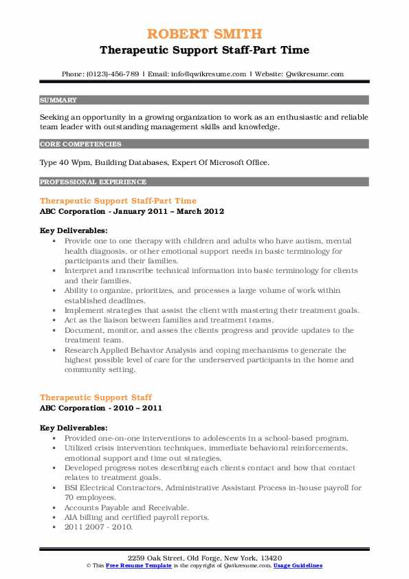 Therapeutic Support Staff-Part Time Resume Model