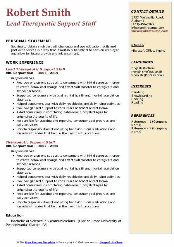 Lead Therapeutic Support Staff Resume Template