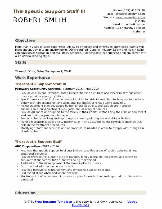 Therapeutic Support Staff III Resume Model