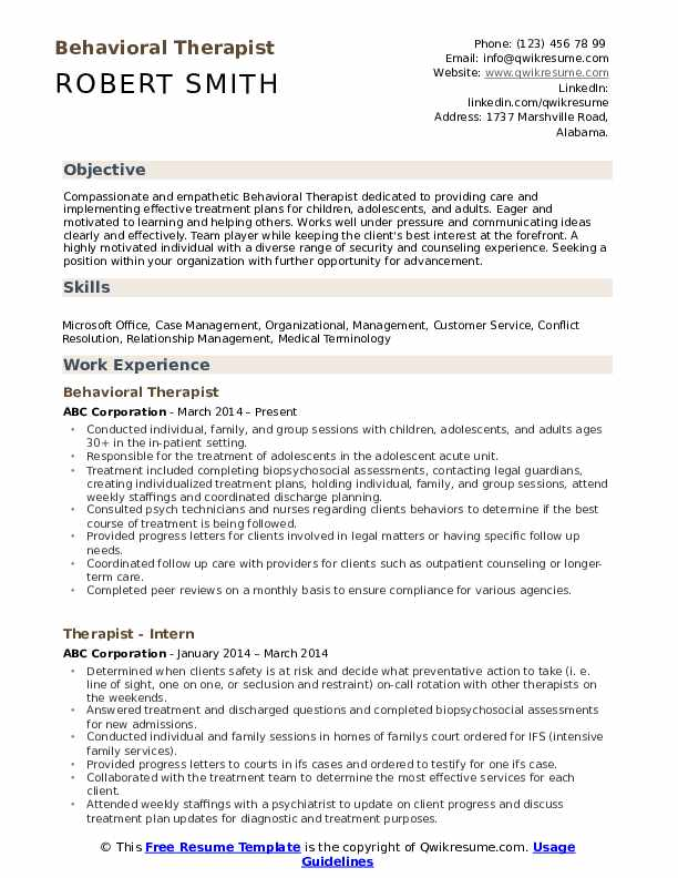 Behavioral Therapist Resume Format