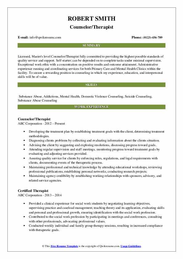 Counselor/Therapist Resume Format