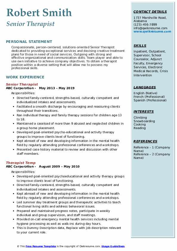 Senior Therapist Resume Template