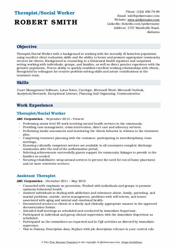 Therapist/Social Worker Resume Format