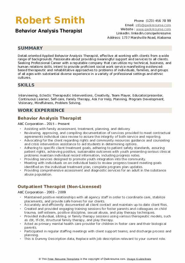 Therapist Resume example