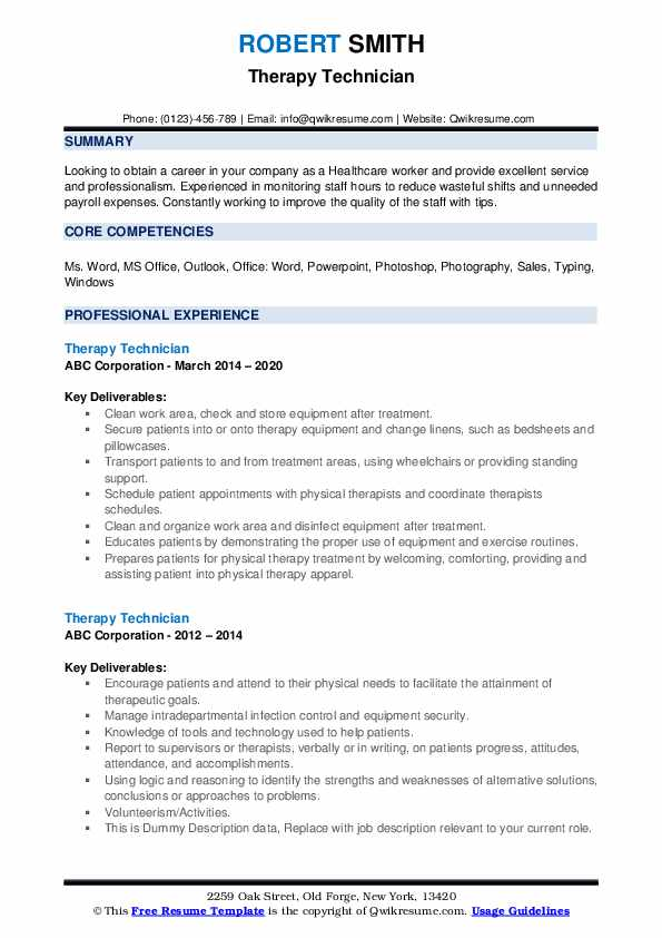Therapy Technician Resume example