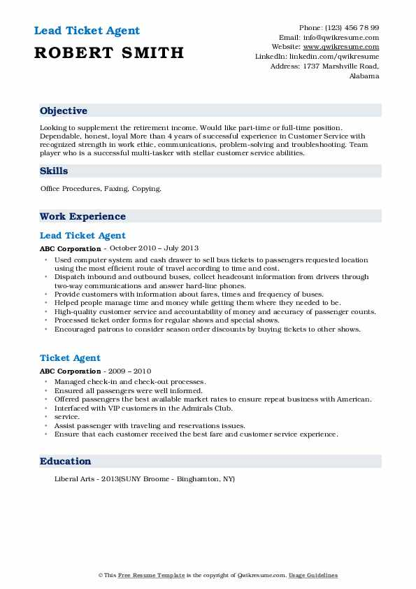 Lead Ticket Agent Resume Sample