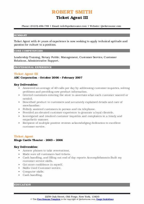Ticket Agent III Resume Format