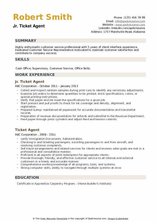 Jr. Ticket Agent Resume Example