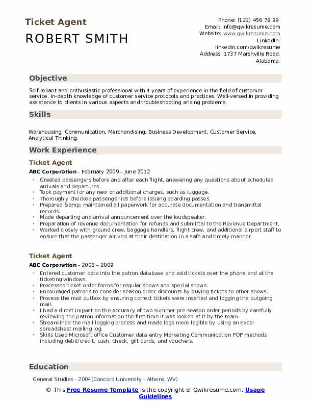 Ticket Agent Resume example