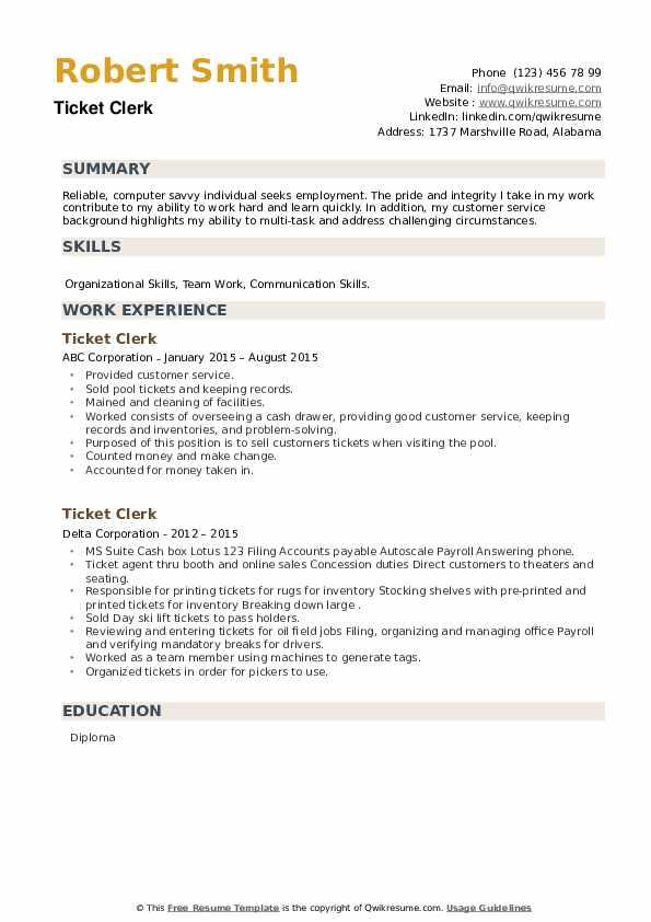 Ticket Clerk Resume example