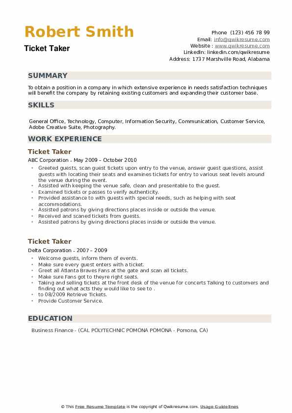 Ticket Taker Resume example