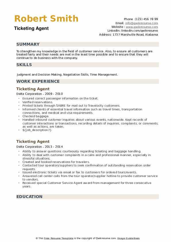 Ticketing Agent Resume example