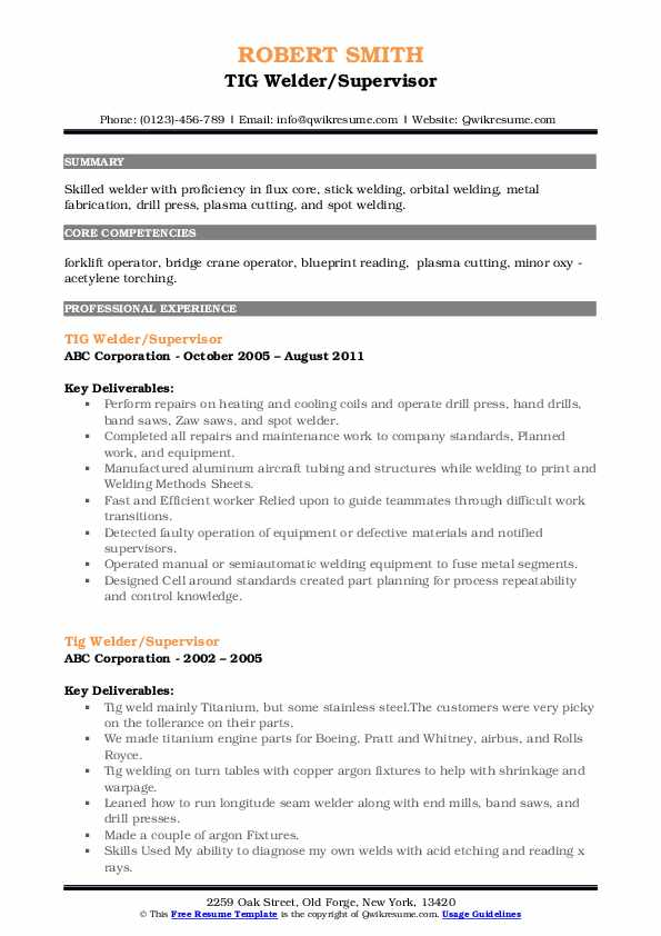 tig welder resume samples
