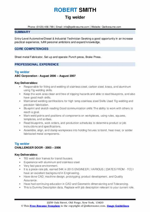 TIG Welder Resume example