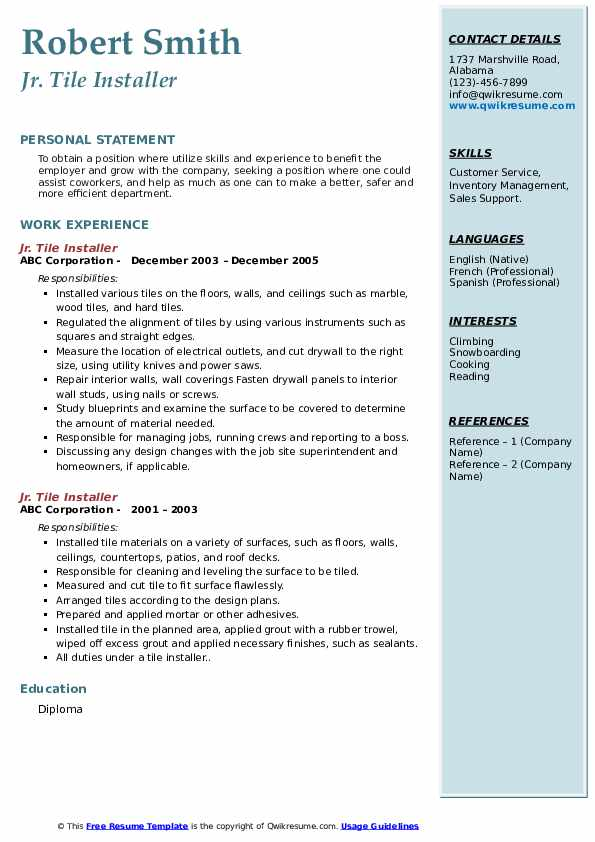 tile installer resume samples