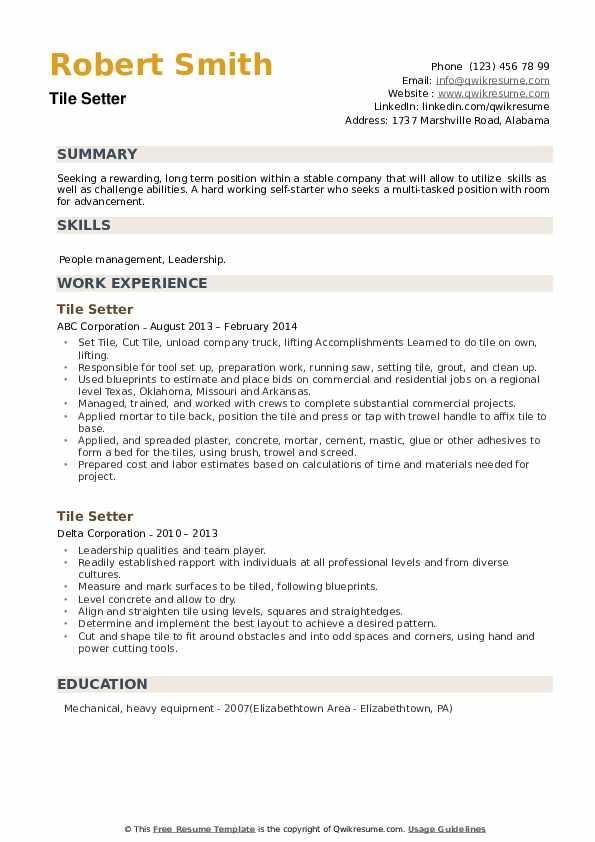 Tile Setter Resume example