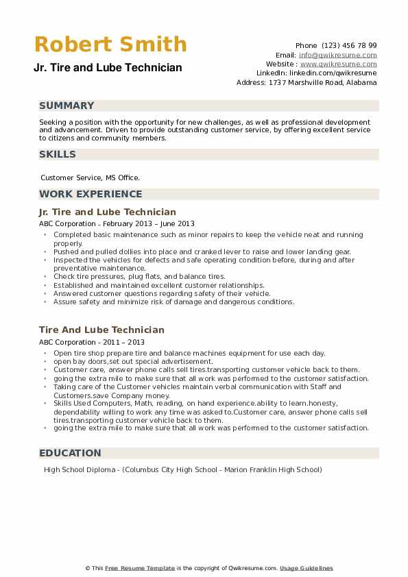 Jr. Tire and Lube Technician Resume Sample