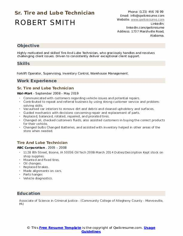 Sr. Tire and Lube Technician Resume Format