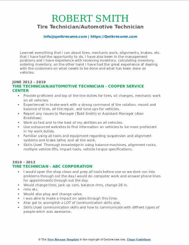 Tire Technician/Automotive Technician Resume Sample