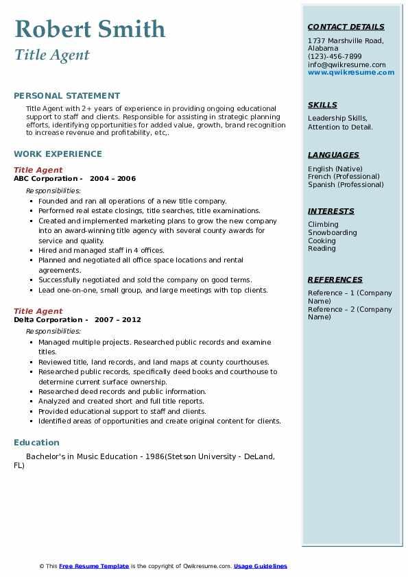 Title Agent Resume Samples | QwikResume