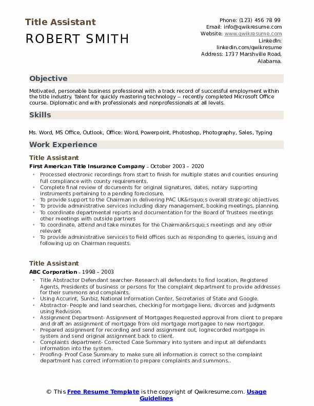 Title Assistant Resume Samples Qwikresume