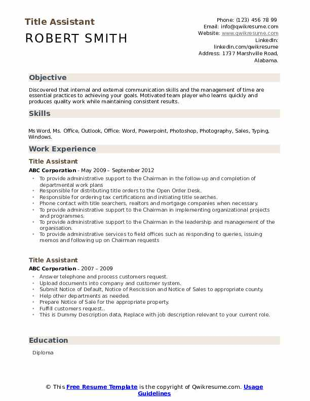 Title Assistant Resume example